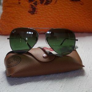Large Ray ban smoky green lenses on black frame